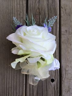 Wrist Corsage. White rose green hydrangea by FeatheredNestFloral