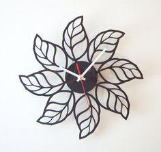 Handmade decorative acrylic wall clock  LEAFS by LaserCust on Etsy