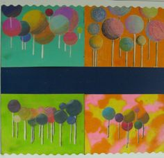 Chalk Pastel Lolipops. I use this project to teach shading and value of a round object to my Art I students. This is so easy I'm sure it could be used for elementary as well.