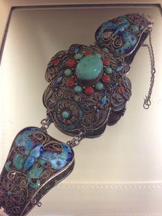 Antique Chinese Enamel Silver Bracelet Very Unique Must See L K | eBay