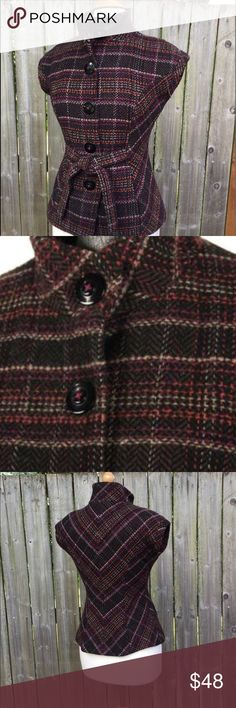 """Cabo """"cinch it up"""" sleeveless plaid jacket Great layering piece with distressed jeans or brown dress pants. Gorgeous plaid in brown and plum and pumpkin. CAbi Jackets & Coats Blazers"""