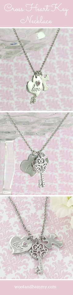 Cross Heart Key Charm Necklace. Three little charms represent love, faith and devotion in this adorable necklace....pinned by ♥ wootandhammy.com, thoughtful jewelry.