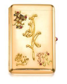 A rare Fabergé gold double cigarette case, Moscow, circa 1890. Visit Renaissance Fine Jewelry in Vermont or a www.vermontjewel.com for the ultimate bridal  jewelry!