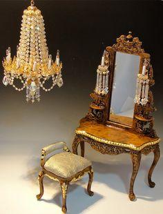 Dollhouse Vanity and bench set The Josette. $395.00, via Etsy.