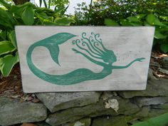 Fantasy Whirly Mermaid Decor Hand Painted Wood Sign - Choose Your Color Mermaid on Etsy, $25.00
