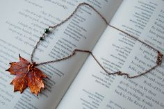 Small Fallen Copper Maple Leaf Necklace . Enchanted Leaves . $24.95