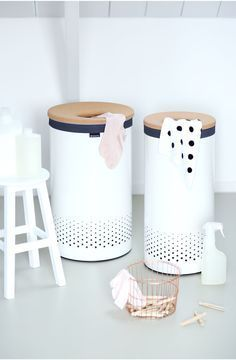 New Brabantia Laundry Bins with cork lid in White Bathroom Bin, Laundry In Bathroom, Bathroom Furniture, Laundry Box, Laundry Storage, Storage Bins, Sconces Living Room, Laundry Design, Bathroom Collections
