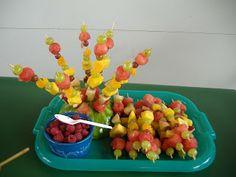 Fruit kebab display.