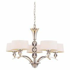 """Chandelier with stacked orb accents and white fabric shades.  Product: ChandelierConstruction Material: Metal and glassColor: Polished nickel and whiteAccommodates: (5) 40 Watt bulbs - not includedDimensions: 22"""" H x 30"""" Diameter"""