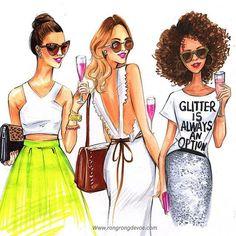 Fashionistas fashion illustration by Houston fashion illustrator Rongrong… Illustration Mode, Fashion Illustration Sketches, Fashion Sketches, Fashion Wall Art, Fashion Prints, Fashion Design, Foto Fashion, Girl Fashion, Trendy Fashion