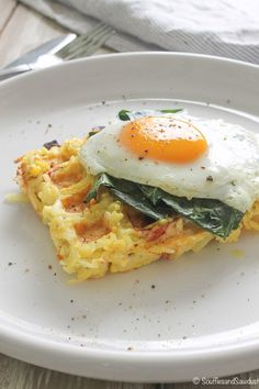 Hashbrown waffles recipe with greens and egg. Gluten-free and a nice breakfast in bed option for your Valentine. From the blog, http://soufflesandsawdust.com