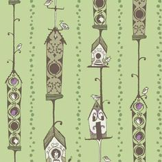 Bird House in Olive, Sarah Watts, part of the Feather N Stitch collection