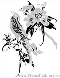 Птички и сакура 5 - Трафареты для декора :: Япония - купить с доставкой без предоплаты :: изготовление трафаретов для стен под покраску по каталогу и на заказ