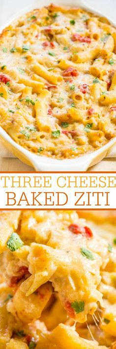 Three Cheese Baked Ziti - Mozzarella, fontina, and parmesan melted together are divine!! An easy, make-ahead meal that's also freezer-friendly and so tasty!! The whole family will love it!