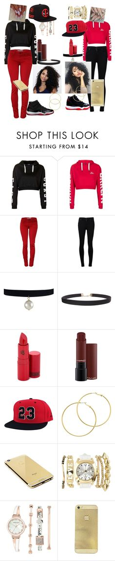 """""""me and twin day"""" by normaniloveswag07 ❤ liked on Polyvore featuring beauty, Topshop, Citizens of Humanity, Humble Chic, Lipstick Queen, Melissa Odabash, Goldgenie, Charlotte Russe, Anne Klein and Marvel"""
