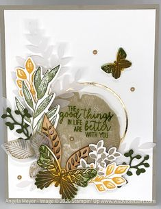 Such a woodsy feel when combining the Rooted in Nature stamps & coordinating dies, along with Forever Fern bundle and the Butterfly Gala stamps and punch! Butterfly Outline, Butterfly Wings, Diy And Crafts, Paper Crafts, Card Tutorials, Hello Beautiful, Masculine Cards, Flower Cards, Diy Cards