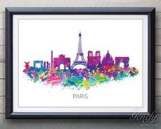 París Skyline acuarela arte cartel imprimir - decoración de la pared - pared acuarela arte - decoración del hogar pintura - ilustración - arte - acuarela