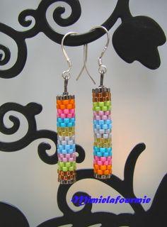 Boucles d'oreilles Tube Multi colore + berceuses argent 925 - Tissage Peyote : Boucles d'oreille par mimielafourmie-perle