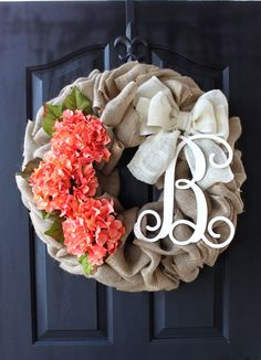 Burlap Wreaths  Spring wreath Mothers Day Gift ireaths -  Spring Wreath - hydrangea Wreath Summer Wreath for door - Summer Wreaths - by OurSentiments on Etsy https://www.etsy.com/listing/181008859/burlap-wreaths-spring-wreath-mothers-day
