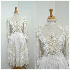 Edwardian Tambour Lace Dress 2piece Blouse and by KMalinkaVintage