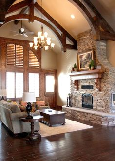 Love the exposed beams and huge fireplace Home Living Room, Living Room Designs, Living Area, Parade Of Homes, Creative Home, Brick Archway, Cozy House, House Floor Plans, Exposed Beams