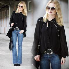 Topshop Blouse, Parfois  Glasses, Levi's® Jeans, H&M Bag