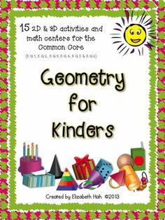 15 math activities to help with all common core standards for Kinder geometry. $ #kindergartenmath #commoncore