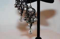 Gun Metal & Crystal Cascading Earrings by GemsByJennie on Etsy, $15.00