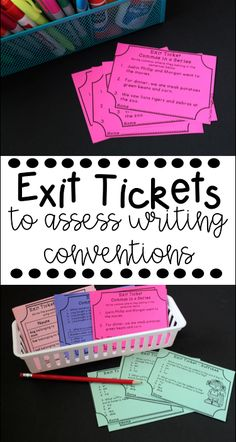 Writing conventions exit tickets are a great and easy way to assess writing workshop minilessons. This can be used to organize small groups too! Covers common core standards.
