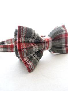 Mens Bow Tie -  Gray/White/Red Plaid, Plaid Bow Tie, Tartan Bow Tie, Wedding Accessories
