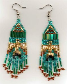 Small Teal Thunderbird Seed Bead Earrings.