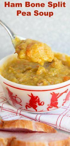 Pea Soup Crockpot, Crock Pot Soup, Slow Cooker Soup, Crockpot Meals, Ham Bone Recipes, Leftover Ham Recipes, Soup Recipes, Chili Recipes, Kitchens