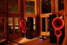 Acapella Triolon Excalibur. OMG awesome. Look at those elegant little SET monoblocks that drive them. :)