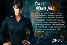 I took Zimbio's 'Avengers' quiz and I'm Maria Hill!! Although being a Superhero would've been cool- I'm not unhappy with this. :) Who are you? #ZimbioQuiz