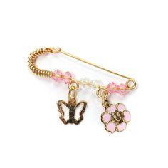 Παραμάνα για κορίτσι , πεταλούδα-λουλούδι χρυσό  Κ14
