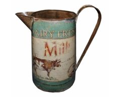 Dairy Fresh Milk Cow Rustic Jug 26cm Green Vintage Retro
