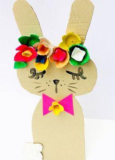 Recycled Bunny Cardboard Craft #kidscraft #eastercrafts #recycledcraft