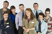 The Job Lot. Image shows from L to R: Graham (Tony Maudsley), Angela (Jo Enright), Danielle (Tamla Kari), Karl (Russell Tovey), Trish (Sarah Hadland), Graham (Tony Maudsley), Janette (Angela Curran), Bryony (Sophie McShera). Image credit: Big Talk Productions.