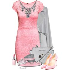 Pink Dress by ragnh-mjos on Polyvore featuring H&M, Chicwish, Christian Louboutin, MICHAEL Michael Kors, contest, Pink and dress