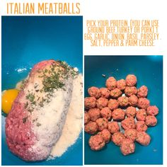 Pick your protein. (You can use ground beef,turkey or pork) 1 egg, garlic, onion, basil, parsley , salt, pepper & parm cheese. Italian Meatballs, 1 Egg, Chana Masala, Parsley, Ground Beef, Allrecipes, Love Food, Basil, Dog Food Recipes