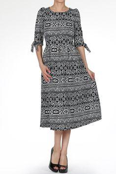 Modest Fashion | Tribal Flare Dress Dainty Jewell's Boutique | Modest Apparel Bridesmaid Dresses Weddings Holidays Ruffles Lace Stripes Chevron Polka-Dot Paisley
