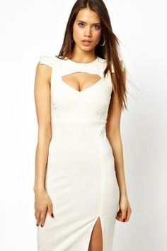 White Cut out Bust Midi Dress with Shoulder Detail