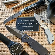 """Here's your weekly reminder to """"Keep Sharp Objects Away From Face."""" . . . Excellent shot from @essentialcarry! . . . #Repost @essentialcarry  Sunday morning public service announcement: """"Keep sharp objects away from face!"""" ..brought to you by @canyouhandlebar #wordsofwisdom #canyouhandlebar #publicserviceannouncement #psa #beard #beardedgentlemen #gentleman #gentlemen #shaving #awt #awtgrip #benchmade #swatch #spyderco #manbug #beerscout #gec #coffee #schon #schondesign #sticker…"""