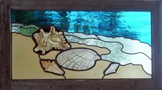 beach stained glass | Painted Stained Glass Seashell Beach Scene by JuliaWilliamson