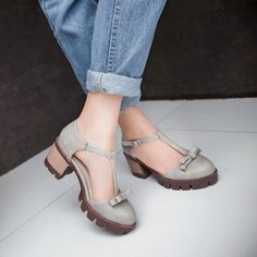 Hot Retro Chunky Heels Mary Janes Round Toe T-Strap Womens Oxford Cut Out Shoes