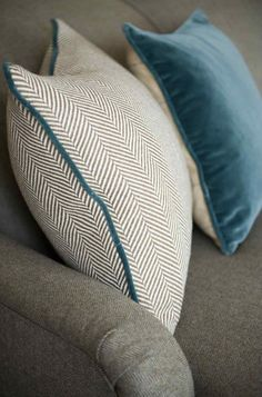 Teasel England cushions – great colour combination with teal and neutrals