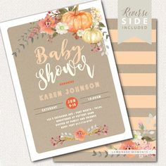 Pumpkin Fall Baby Shower Invitation Our Little by LemonadeMoments