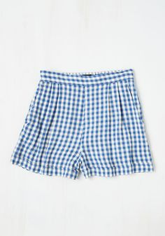 I Think, Therefore I Gingham Shorts in Blue | Mod Retro Vintage Shorts | ModCloth.com