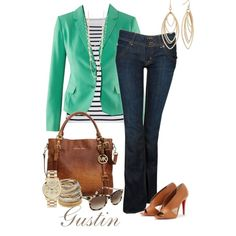 green blazer, created by stacy-gustin.polyvore.com