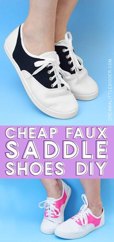 Need a pair of saddle shoes for a costume or just because they are super cute but don't want to spend big bucks on them? Make your own cheap (around 6 bucks!) pair of faux saddle shoes! 1950 Costumes, Sock Hop Costumes, Grease Costumes, Halloween Costumes, Couple Halloween, Halloween 2019, Halloween Ideas, Halloween Party, Sock Hop Outfits
